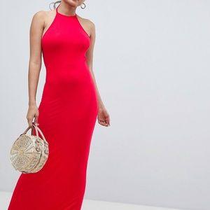 Red halter top maxi dress